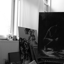 Vue de l'atelier de peinture Paris