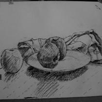 Nature morte . dessin préparatoire. cours de dessin